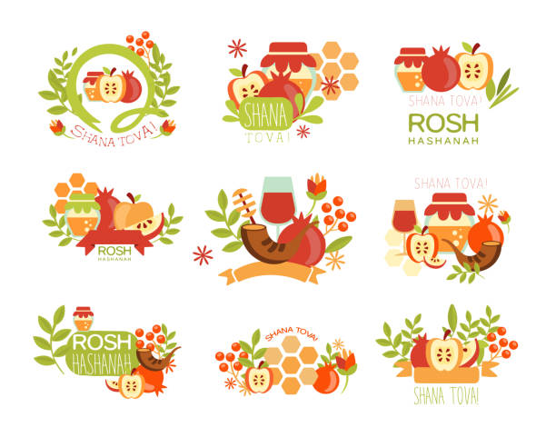 rosh hashanah bright postcard labels set - rosh hashana stock illustrations