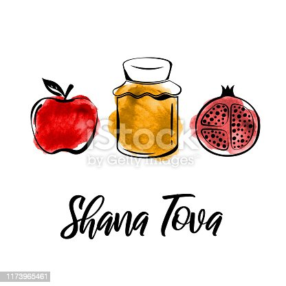 Rosh Hashanah greeting card. Shana Tova, Jewish New Year holiday. Watercolor honey jar, apple and pomegranate. Vector illustration. EPS10