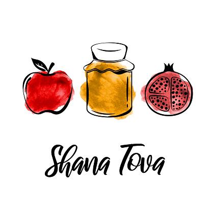 Rosh Hashanah greeting card. Shana Tova, Jewish New Year holiday. Watercolor honey jar, apple and pomegranate. Vector