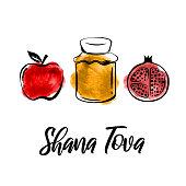 Rosh Hashanah greeting card. Shana Tova, Jewish New Year holiday. Watercolor honey jar, apple and pomegranate. Vector illustration. EPS10