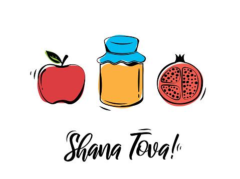 Rosh Hashanah greeting card. Shana Tova, Jewish New Year holiday. Honey jar, apple and pomegranate. Vector