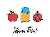 Rosh Hashanah greeting card. Shana Tova, Jewish New Year holiday. Honey jar, apple and pomegranate. Vector illustration. EPS10