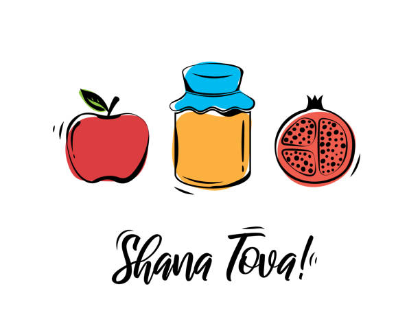 rosh hashanah greeting card. shana tova, jewish new year holiday. honey jar, apple and pomegranate. vector - rosh hashana stock illustrations