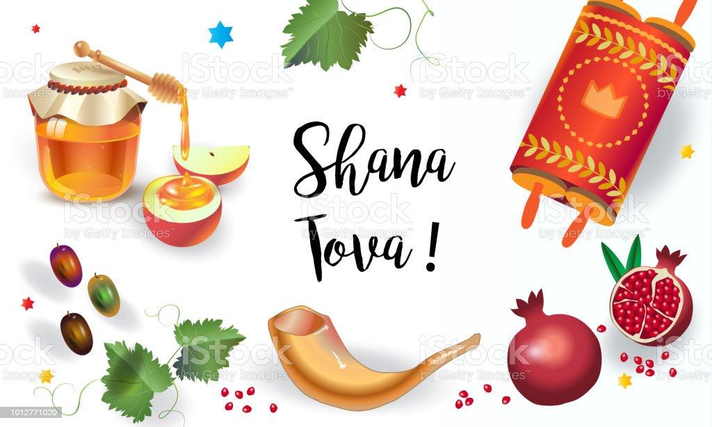 Rosh hashanah greeting card shana tova wishes text torah honey and rosh hashanah greeting card shana tova wishes text torah honey and apple m4hsunfo