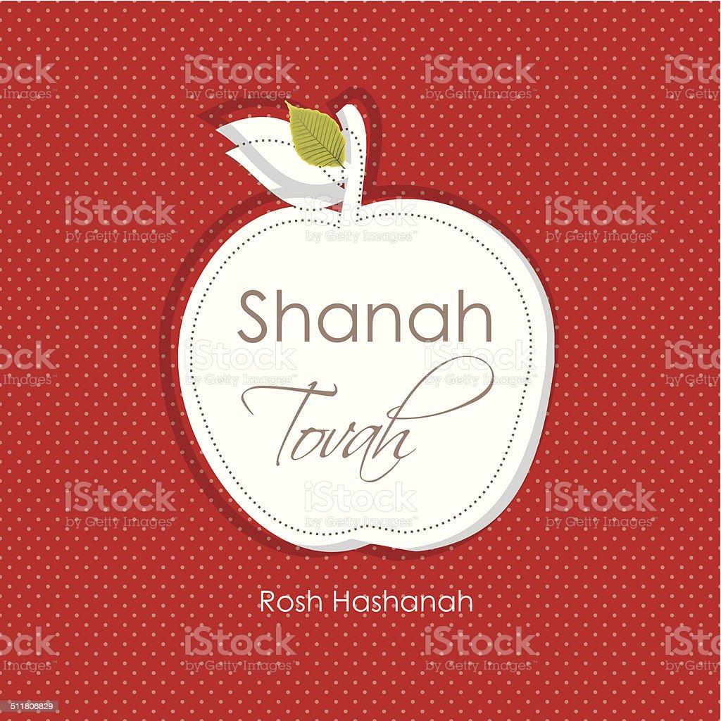 Rosch hashanah Grußkarte weißen apple Papier auf rotem Hintergrund. – Vektorgrafik
