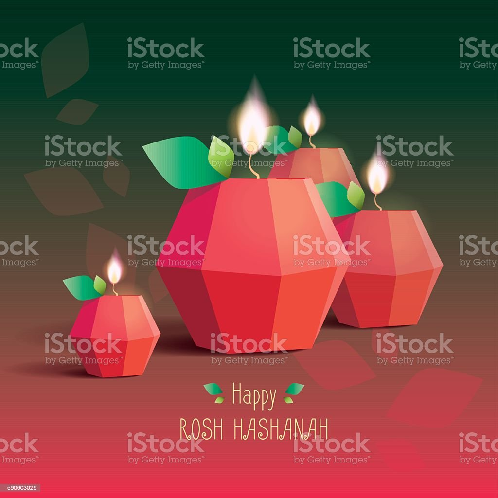 Rosh hashanah greeting card with candle lights stock vector art rosh hashanah greeting card with candle lights royalty free rosh hashanah greeting card with candle m4hsunfo