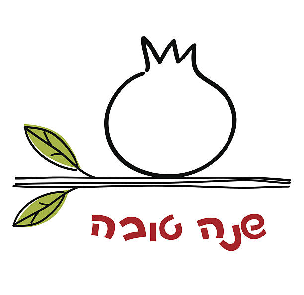 rosh hashanah greeting card with pomegranate and congratulation