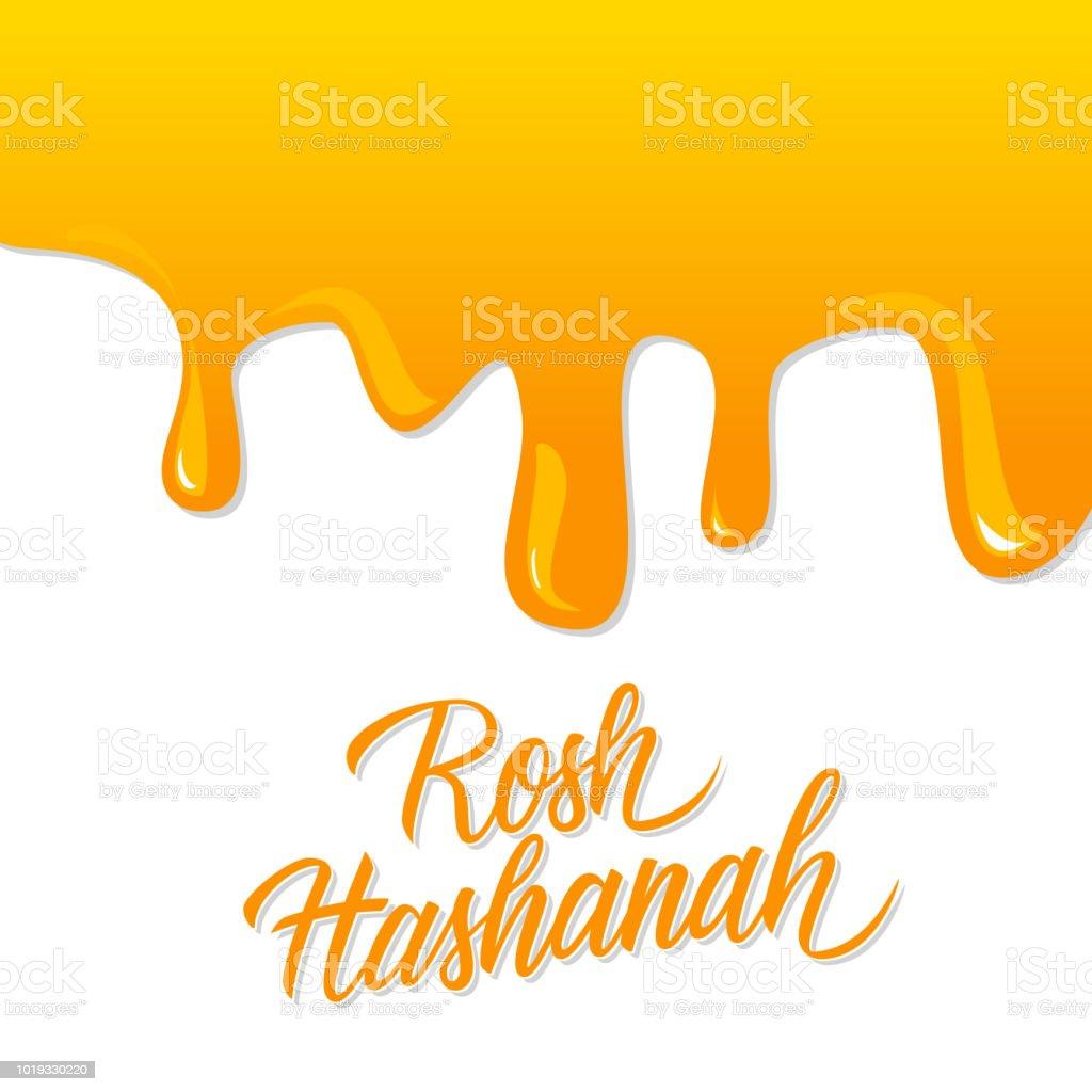 Rosh hashanah hand lettering with liquid honey background jewish new rosh hashanah hand lettering with liquid honey background jewish new year holiday card perfect m4hsunfo