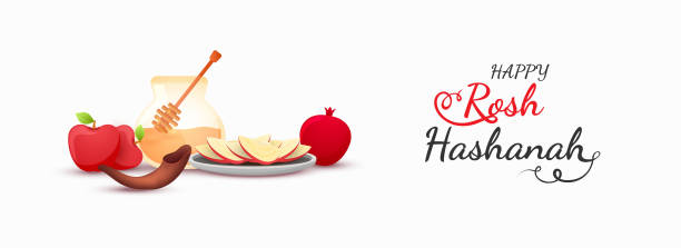 rosh 新年標題或橫幅設計, 滴頭與蜂蜜罐子, 石榴, 蘋果和羊角號喇叭插圖在白色背景。rosh 新年頭或橫幅設計, 滴頭與蜂蜜罐子, 石榴, 蘋果和羊角號喇叭例證在白色 ba - rosh hashana 幅插畫檔、美工圖案、卡通及圖標