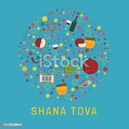 Rosh Hashanah holiday flat design icons set in round shape with text in english