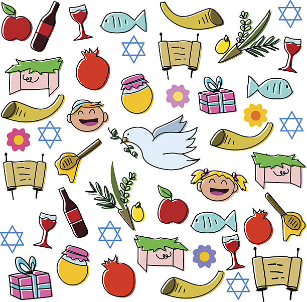 Rosh Hashanah Holidays Symbols Pack vector art illustration