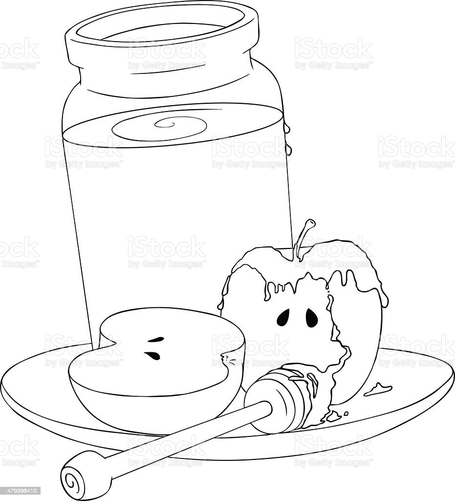 Rosh Hashanah Honey Jar And Apples Coloring Page Royalty Free
