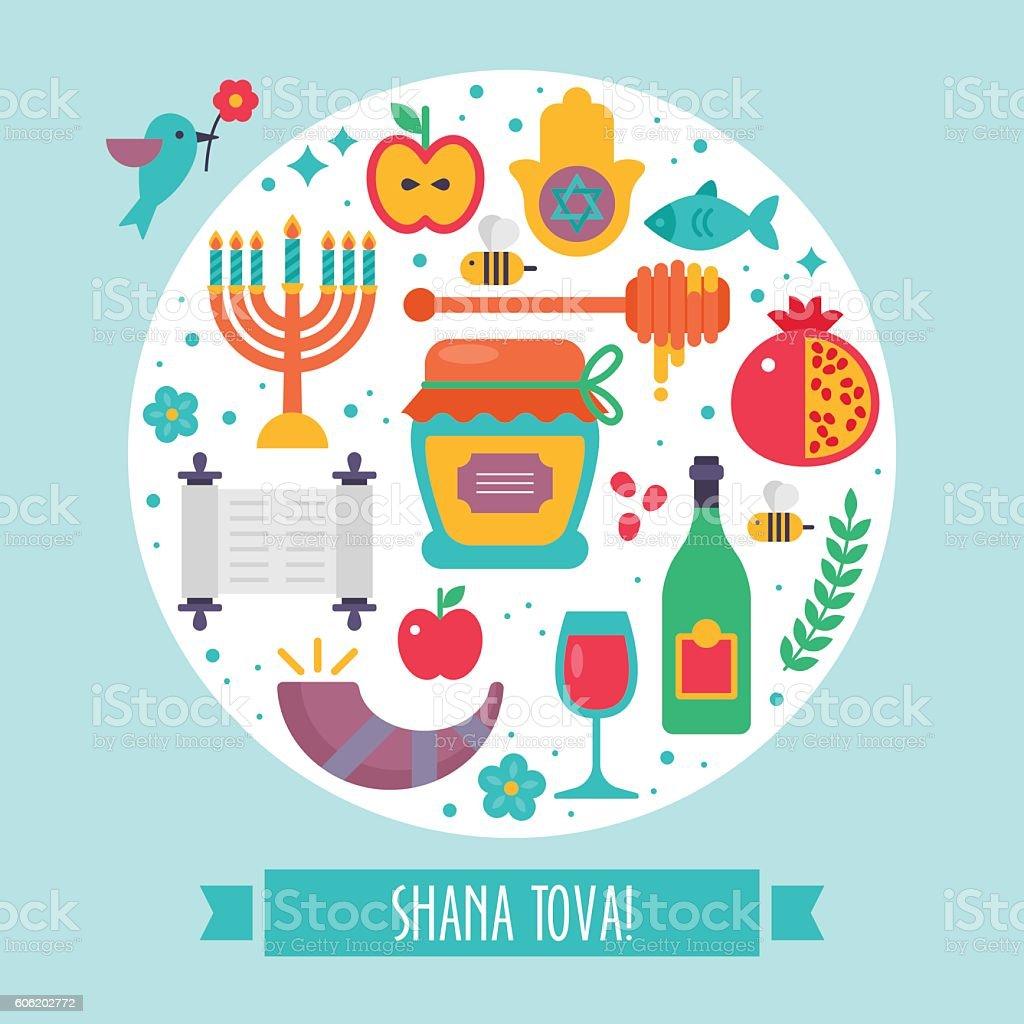 rosh hashanah jewish new year flat modern round greeting design royalty free rosh hashanah jewish
