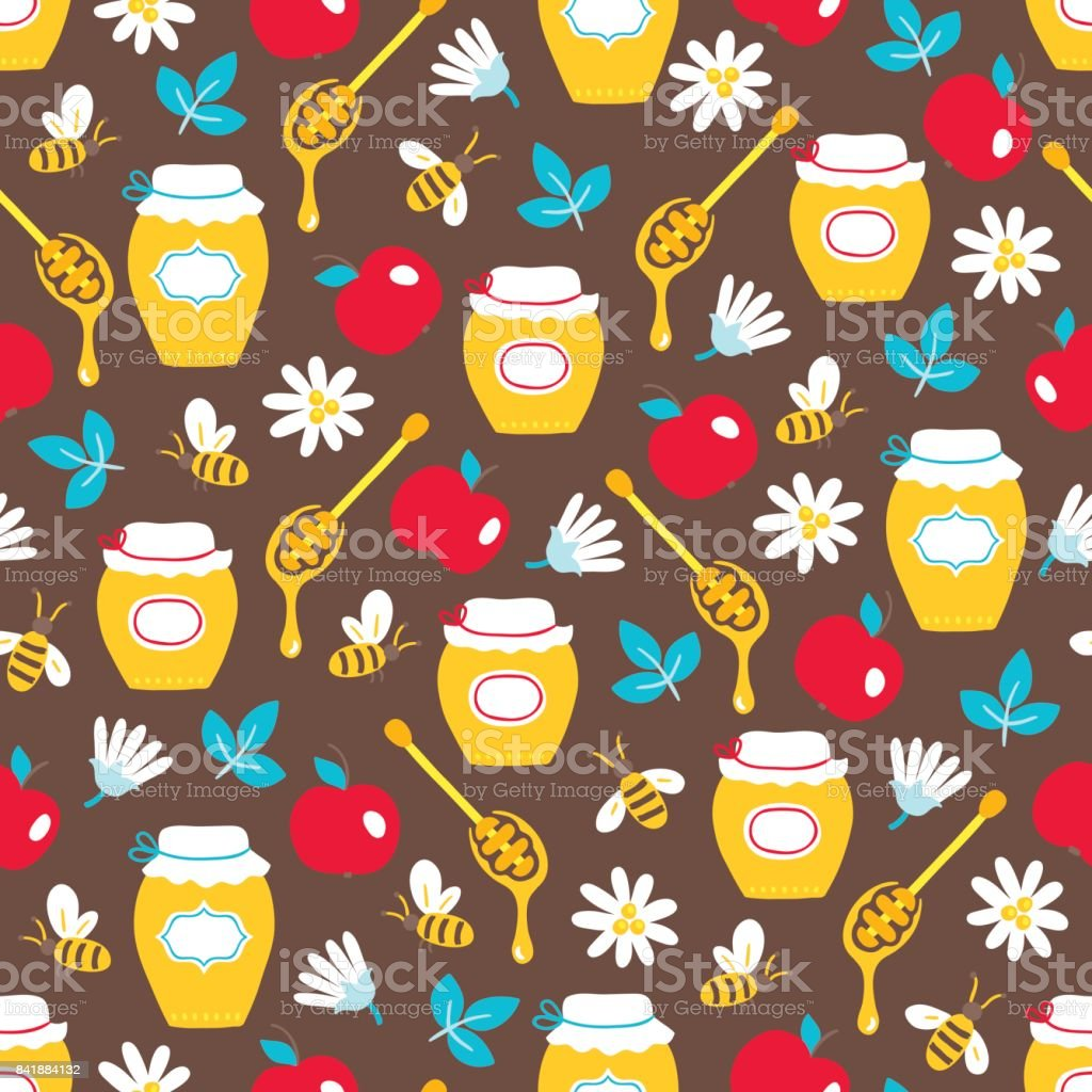 rosh hashanah jewish new year seamless pattern with honey bee royalty free rosh hashanah
