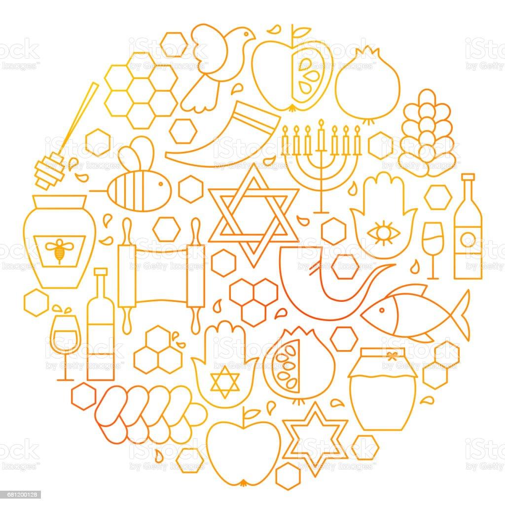 Rosh Hashanah Line Icon Circle vector art illustration
