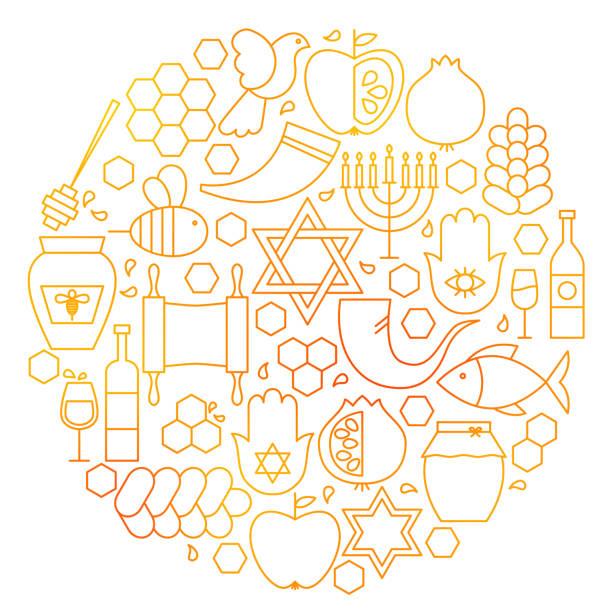 로 시 hashanah 선 아이콘 원 - rosh hashanah stock illustrations