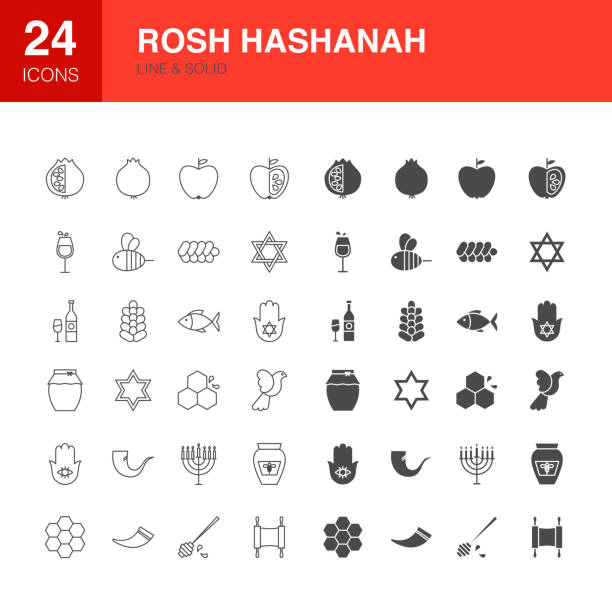 rosh hashanah line web glyph icons - rosh hashana stock illustrations
