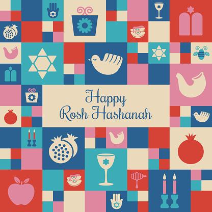 Rosh Hashanah mosaic square design - v1