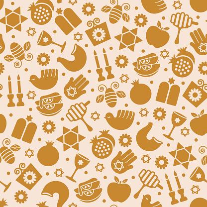 Rosh Hashanah seamless pattern - v1