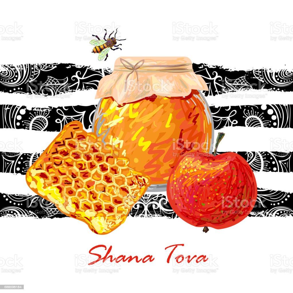 Rosh Hashanah. Shana Tova. Holiday celebration design vector art illustration