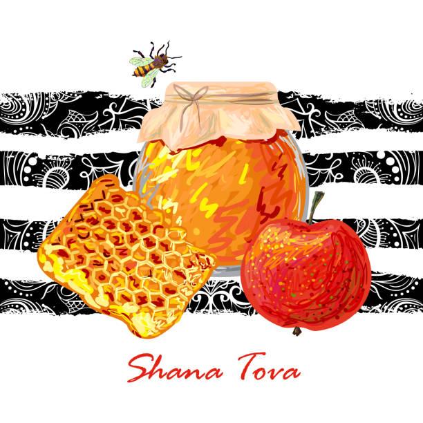 rosh hashanah. shana tova. holiday celebration design - rosh hashanah stock illustrations