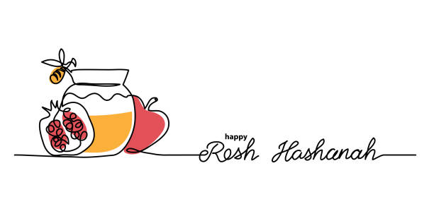羅什哈沙納簡單的向量背景與蜂蜜,蘋果,石榴和蜜蜂。一個連續的線條繪製與字母快樂羅什哈沙納。 - rosh hashana 幅插畫檔、美工圖案、卡通及圖標
