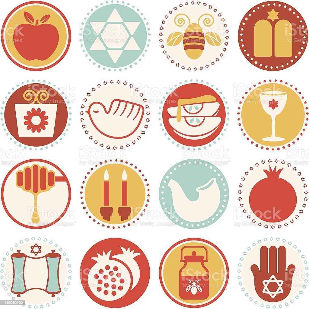 Rosh Hashanah-Yom Kippur - Circle Icons/Seals vector art illustration