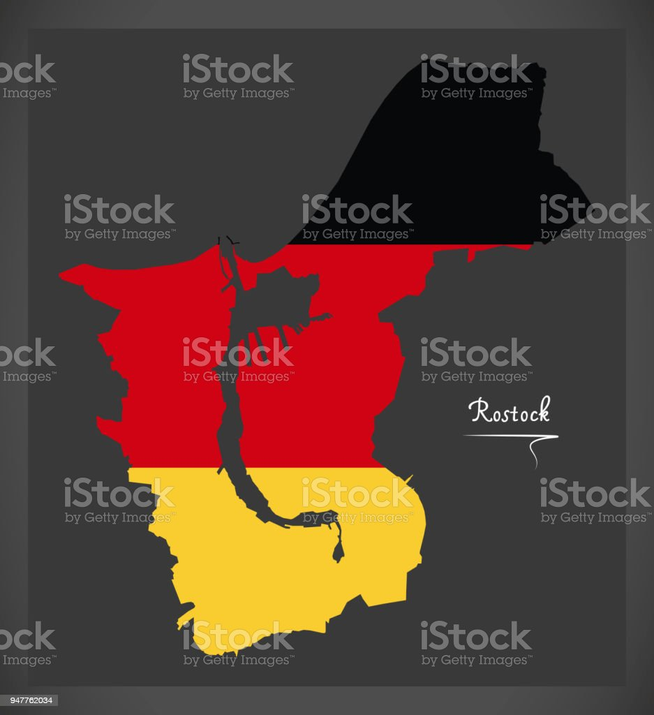 Rostock map with German national flag illustration vector art illustration