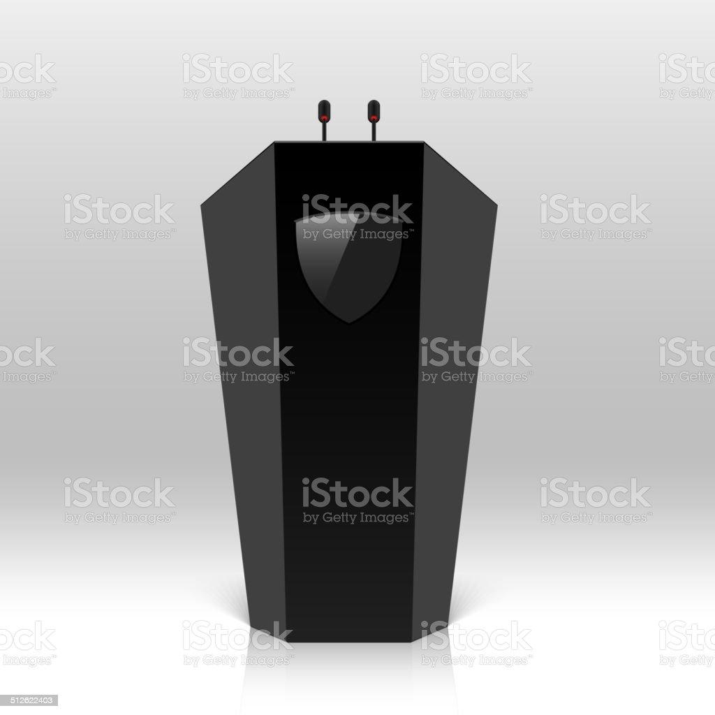 Rostrum, podium, tribune with microphones vector art illustration