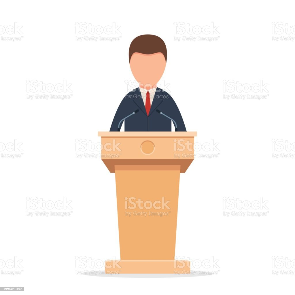 Rostrum with speaker vector art illustration