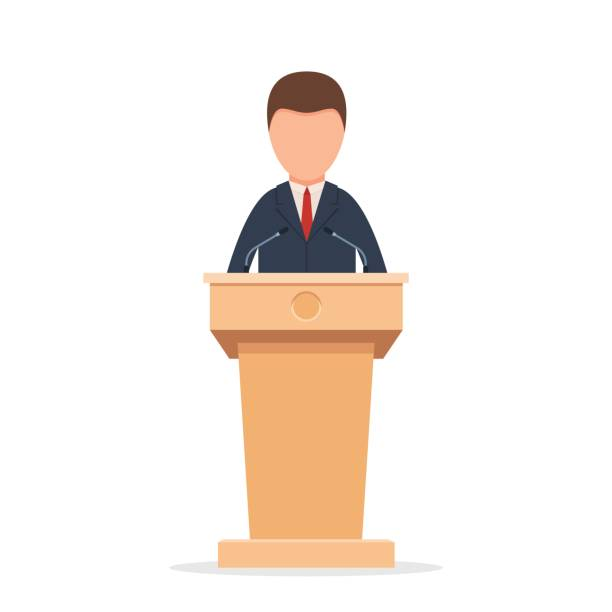 Rostrum with speaker Wooden podium tribune rostrum stand with a man. Speaker standing behind the podium, speaking into the microphones. Flat icon. Vector illustration isolated on white background president stock illustrations