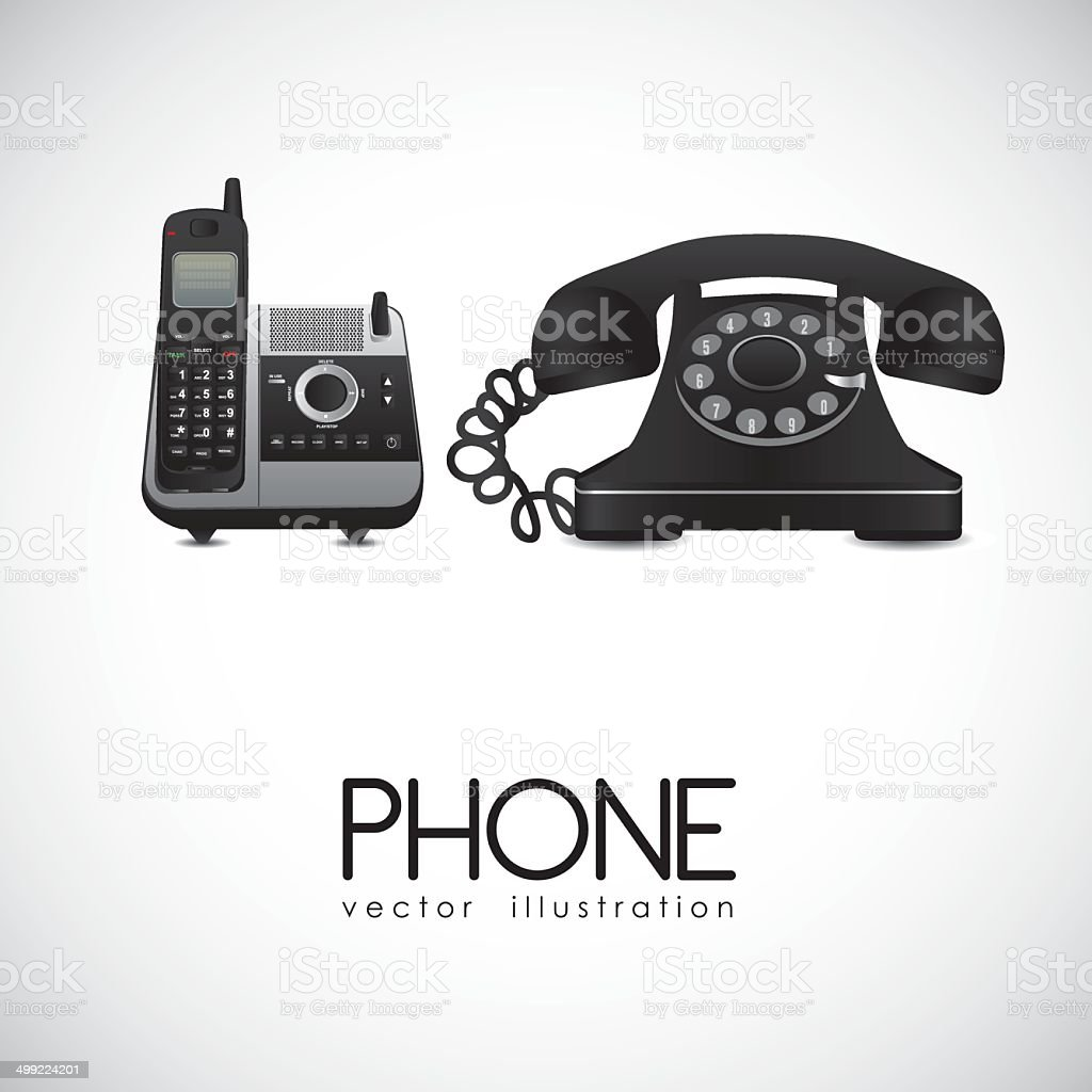 Rotary and a cordless phone vector art illustration