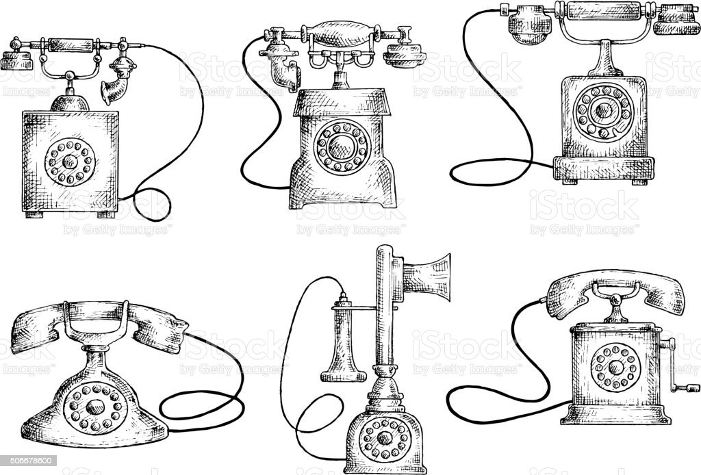rotary dial and candlestick phones sketches stock vector