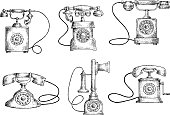 Rotary dial and candlestick phones sketches