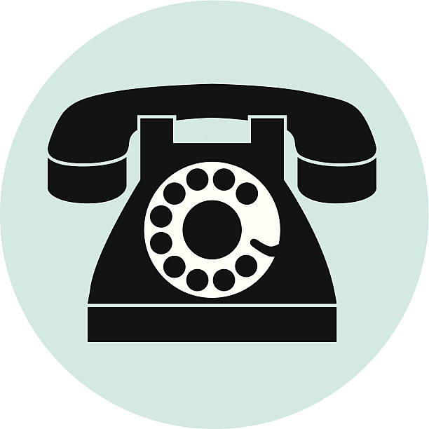 rotary dial telephone on blue circle vector art illustration