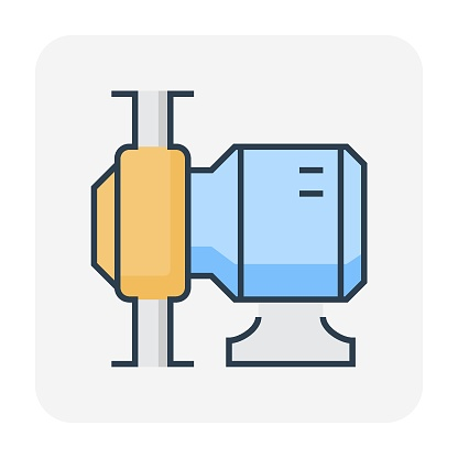 Rotary lobe pump and electric motor vector icon design for food and beverage processing industry.