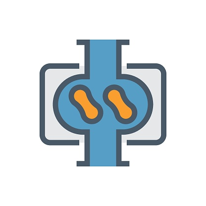 Rotary lobe pump cross section view vector icon design.