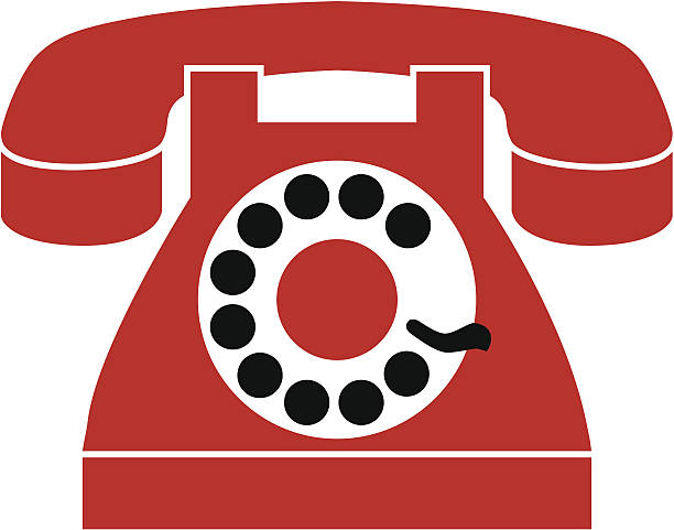 rotary telephone vector art illustration