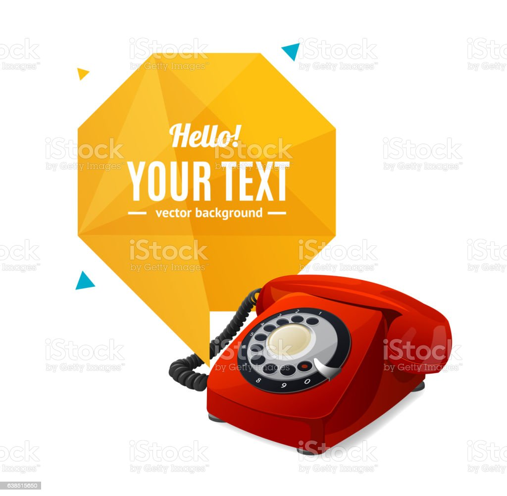 Rotary Telephone with Bubble Speech. Vector vector art illustration