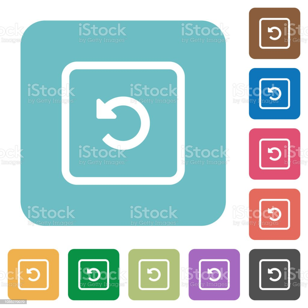 Rotate object left rounded square flat icons