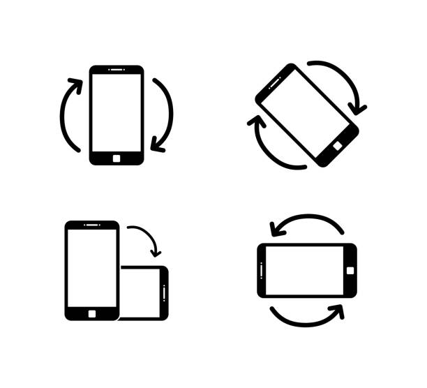 rotate smartphone icon isolated. mobile screen rotation. horisontal or vertical rotation icons. - przekręcać stock illustrations