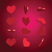 rotated hearts set