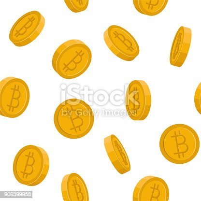 Vector image of bitcoins falling down, seamless illustration