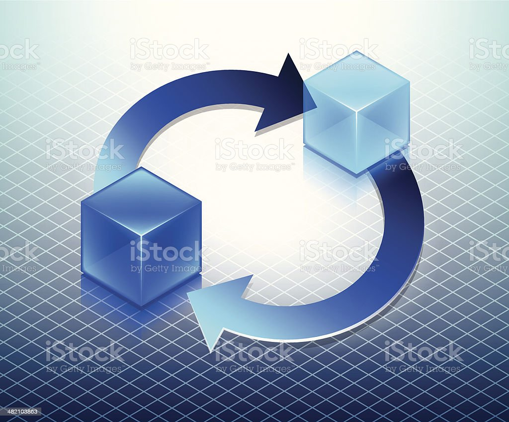 Rotating Blue Cubes with Arrows Business Concept royalty-free stock vector art