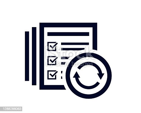 istock Rotating circle icon with arrow heads and document list with tick check marks 1288288063