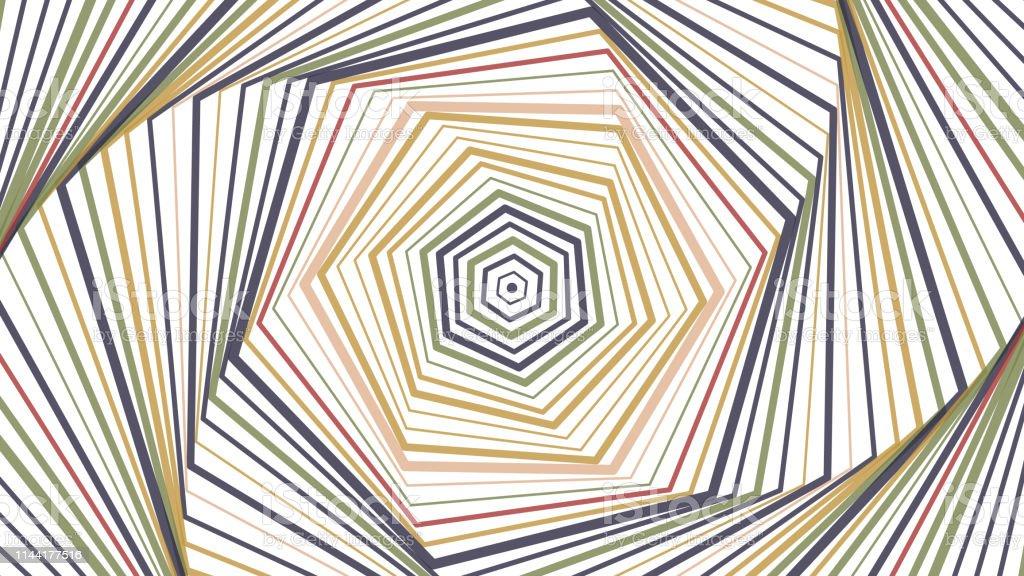 Rotating Concentric Shapes Optical Illusion Abstract Pattern Vector