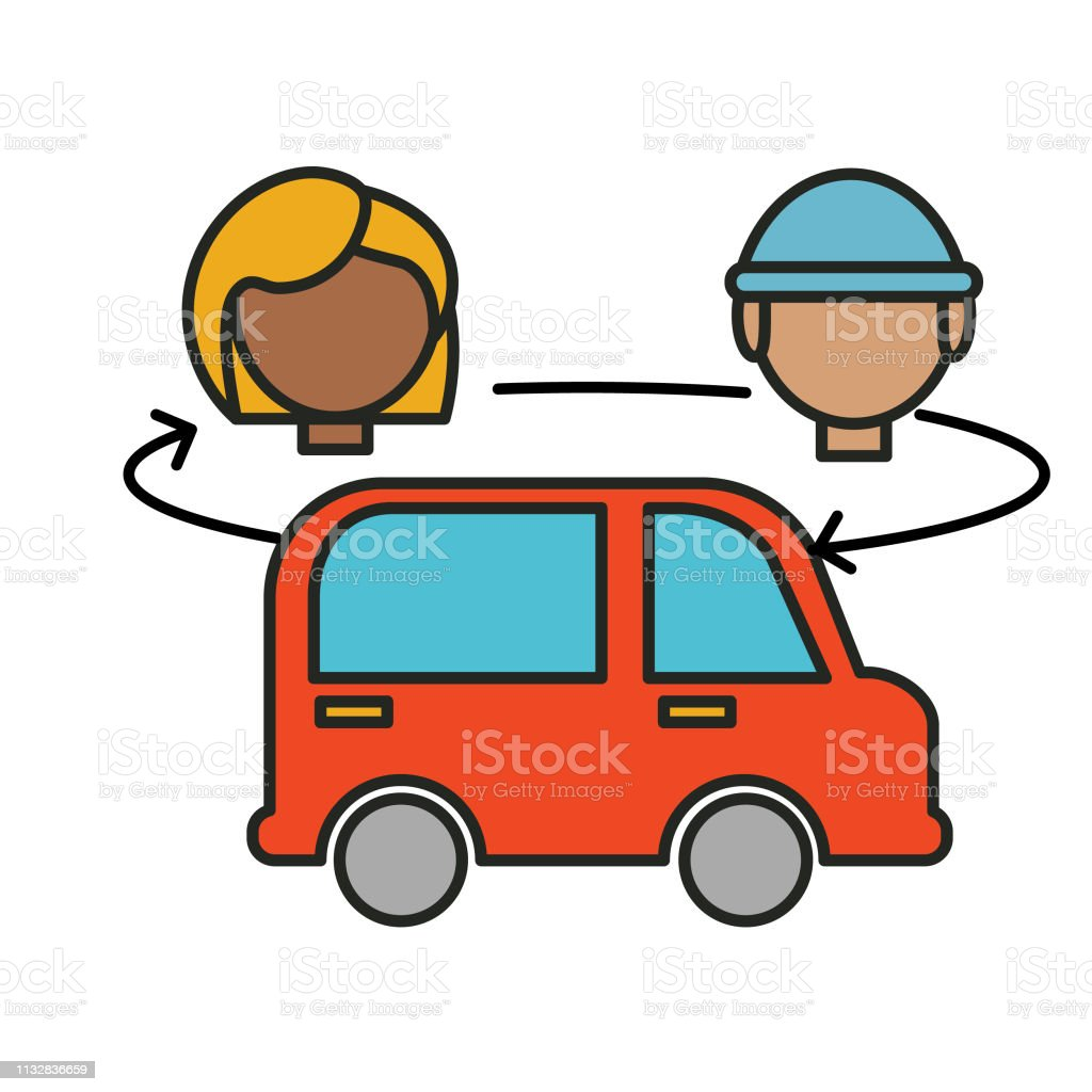 Rotating Drivers Rideshare Icon Stock Illustration