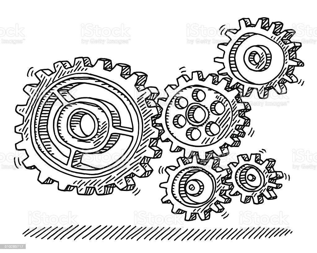 Rotating Gears Machine Drawing vector art illustration
