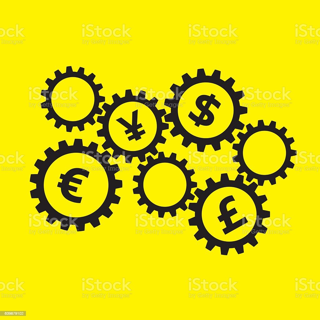 Rotating gears with currency symbols inside on yellow background rotating gears with currency symbols inside on yellow background royalty free rotating gears with currency biocorpaavc Gallery