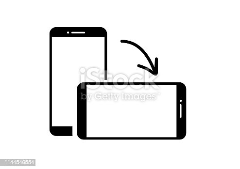 Rotating phone from vertical to horizontal position. Phone vector icon
